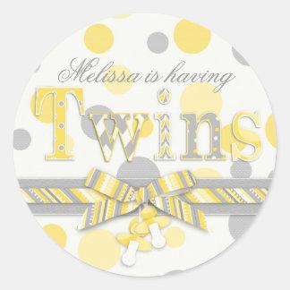 Twins Yellow & Gray Polka Dots Baby Shower Classic Round Sticker