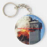 twintower, Land Of The Free Home Of The Brave Basic Round Button Keychain