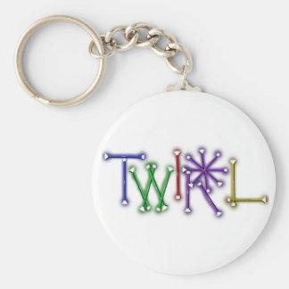 Twirl Basic Round Button Keychain