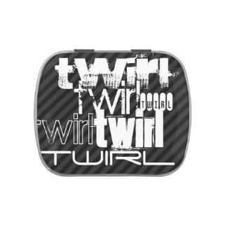 Twirl; Black & Dark Gray Stripes Jelly Belly Tins