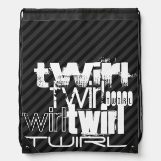 Twirl; Black & Dark Gray Stripes Drawstring Backpack