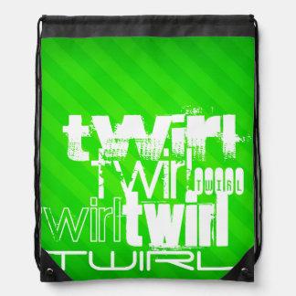 Twirl; Neon Green Stripes Drawstring Backpack