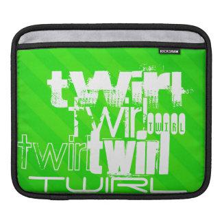Twirl; Neon Green Stripes iPad Sleeve