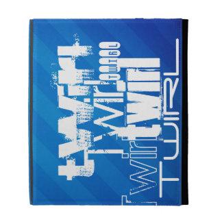 Twirl; Royal Blue Stripes iPad Folio Cases