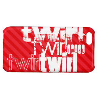 Twirl; Scarlet Red Stripes Case For iPhone 5C
