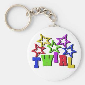Twirl Stars Basic Round Button Keychain