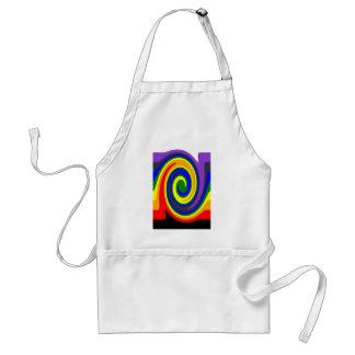 Twirl Waves Rainbow of Colors, ROYGBIV Design Adult Apron