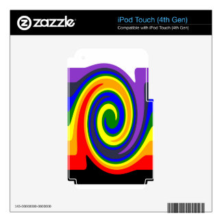 Twirl Waves Rainbow of Colors, ROYGBIV Design iPod Touch 4G Decal