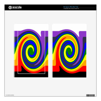 Twirl Waves Rainbow of Colors, ROYGBIV Design Kindle Fire Decal