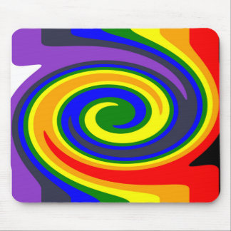 Twirl Waves Rainbow of Colors, ROYGBIV Design Mouse Pad