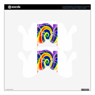 Twirl Waves Rainbow of Colors, ROYGBIV Design PS3 Controller Skins