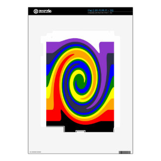 Twirl Waves Rainbow of Colors, ROYGBIV Design Skins For The iPad 2