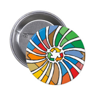 Twirled Recycle 2 Inch Round Button