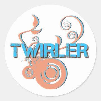 Twirler azul y anaranjado pegatina redonda