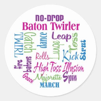 Twirler Collage Round Stickers