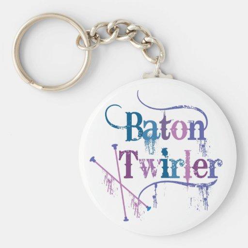 Twirler de bastón apenado llaveros personalizados