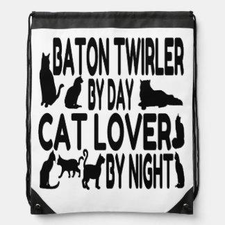 Twirler de bastón del amante del gato mochilas