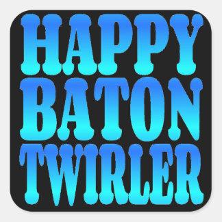 Twirler de bastón feliz en azul pegatina cuadrada