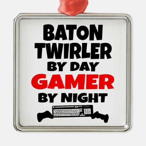 Twirler de bastón por videojugador del día por noc ornaments para arbol de navidad