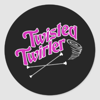 Twirler torcido pegatina redonda