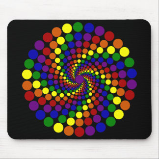Twirling Color Wheel on Dark Background Mouse Pad