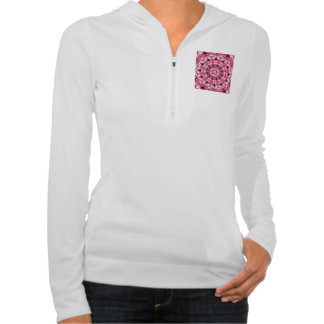 Twirling Pink, Abstract Candy Lace Jewels Mandala Hooded Pullover