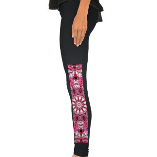 Twirling Pink, Abstract Candy Lace Jewels Mandala Legging