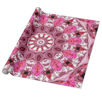 Twirling Pink, Abstract Candy Lace Jewels Mandala Gift Wrap Paper