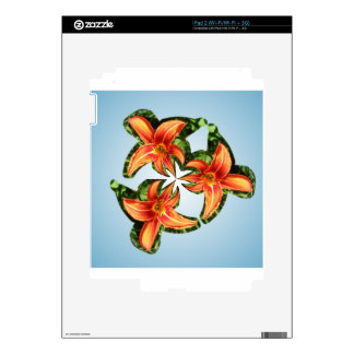 Twirly orange tiger lily decal for the iPad 2