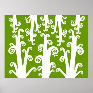 Twirly Shoots - Avocado Green Poster