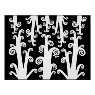 Twirly Shoots - Black and White Poster
