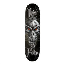 biker, bones, cross, cult, dark, devil, dragon, evil, fantasy, fire, gargoyle, gothic, grim, reaper, head, skull, skulls, Skateboard with custom graphic design