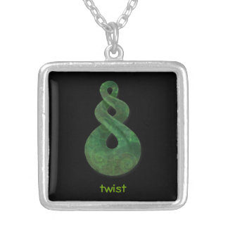 twist square pendant necklace