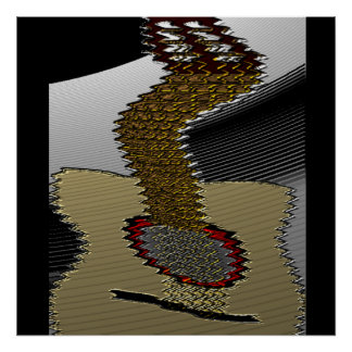 Twisted Acoustic Guitar Abstract Poster Print
