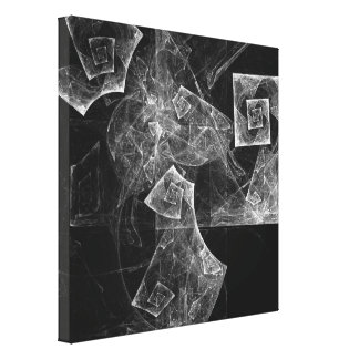 Twisted Balance Abstract Art Black and White Canvas Print