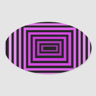 Twisted Brain Game Optical Illusion Purple Black Oval Sticker