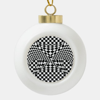 Twisted Checkers by Kenneth Yoncich Ceramic Ball Christmas Ornament