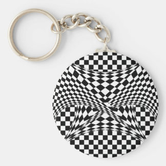 Twisted Checkers by Kenneth Yoncich Keychain