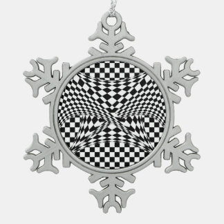 Twisted Checkers by Kenneth Yoncich Snowflake Pewter Christmas Ornament