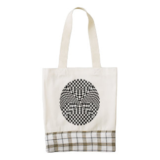 Twisted Checkers Zazzle HEART Tote Bag