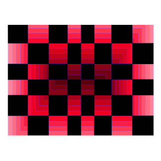 Twisted Chess Board Red Illusion CricketDiane Art Postcard