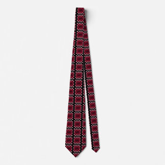 Twisted Chess Board Red Illusion Men's Ties