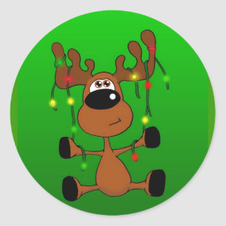 Twisted Christmas Moose Green Round Stickers