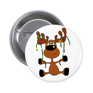 Twisted Christmas Moose Pinback Buttons