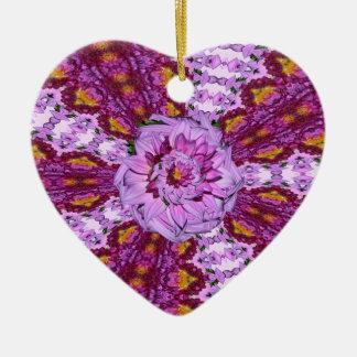 Twisted Dahlia Flowers Heart Ornament