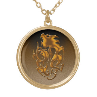 Twisted Dragon bronze Gold Plated Necklace