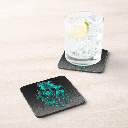 Twisted Dragon cyan Beverage Coaster