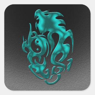 Twisted Dragon cyan Square Sticker