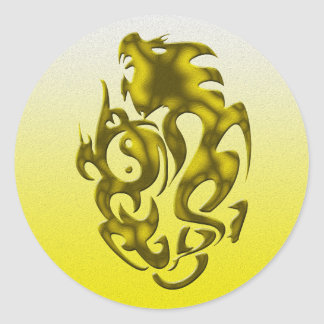 Twisted Dragon gold Classic Round Sticker