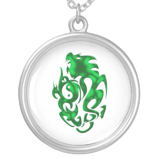 Twisted Dragon green Silver Plated Necklace